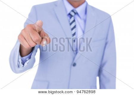 Handsome businessman gesturing with hands on a white background