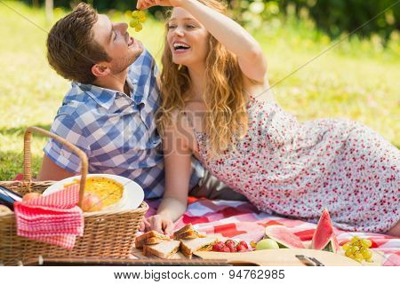 Young couple eating grapes at a picnic on a sunny day