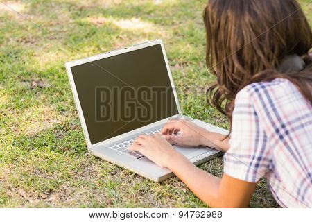 Pretty brunette lying in the grass and using laptop on a sunny day