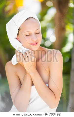 a woman preparing herself for spa day in an health farm