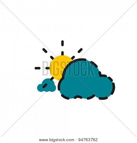 Color line icon for flat design isolated on white. Clouds and sun
