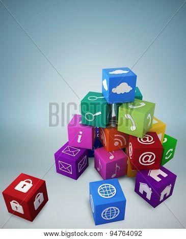 Pile of apps against blue vignette background