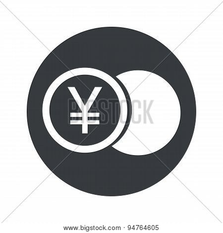 Monochrome round yen coin icon