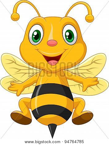 Cartoon adorable bees