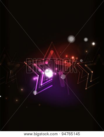 Glowing star and blending colors in dark space. Vector illustration. Abstract background