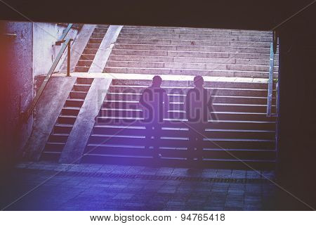 People In Urban Environment, Pedestrians Walking In Underground Passage