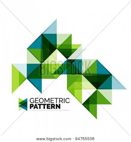 Geometric triangle mosaic pattern element isolated on white. Universal business identity element. Abstract background, online presentation website element, business identity or mobile app cover