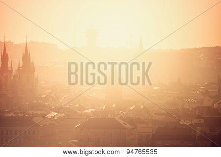 Prague Cityscape On Misty Morning, Retro Toned