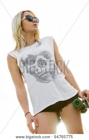 Skater girl wearing skull tshirt
