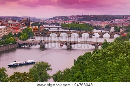 Prague Bridges On Vltava River