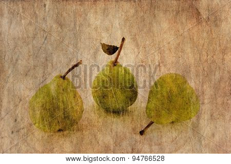 Fresh apple and pears close-up in grunge and retro style.
