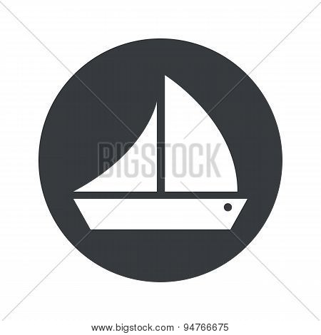 Monochrome round sailing ship icon