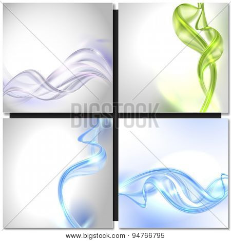 Set of Abstract blue green swirl wave vector backgrounds