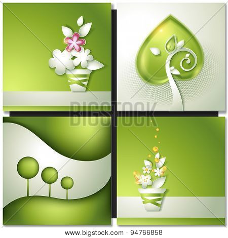 Card with abstract green paper backgrounds with tree and flowers in pot
