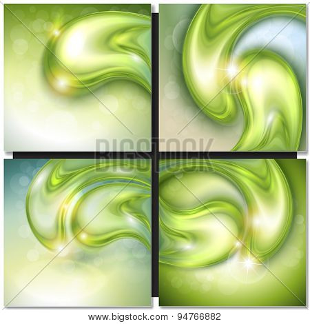 Abstract background with green water drops, vector.
