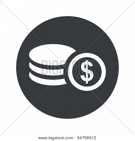 Monochrome round dollar rouleau icon