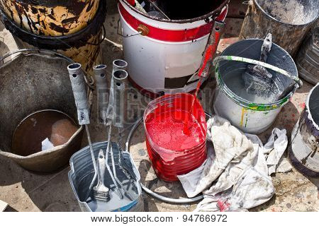 Rust Protective Paints In Metal Buckets