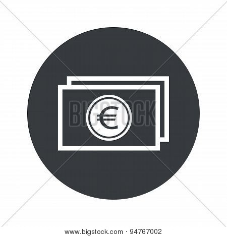 Monochrome round euro bill icon