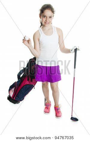Full length girl golf.