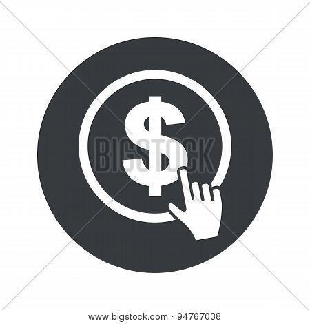 Monochrome round dollar click icon