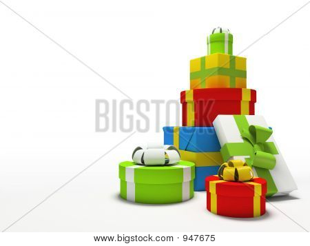 Colour Gift Boxes Isolated On White Background