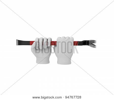 Hands In A White Gloves Holding A Crowbar. 3D Render. White Background.
