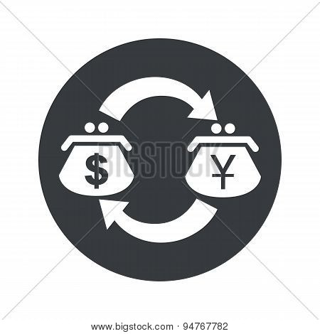 Round dollar yen exchange icon