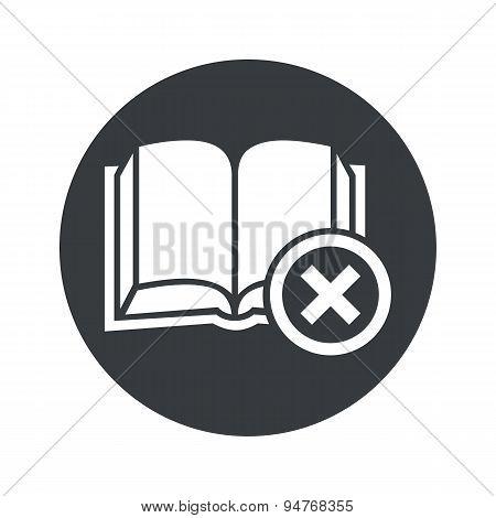 Monochrome round remove book icon