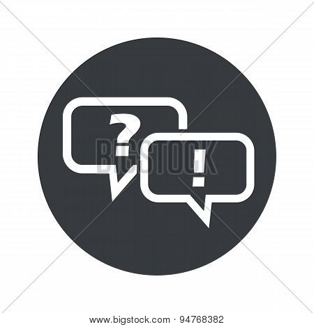Monochrome round question answer icon