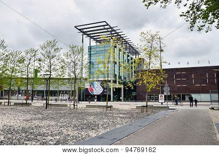 Rotterdam, Netherlands - May 9, 2015: People Visit Het Nieuwe Institut Museum