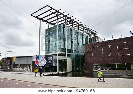 Rotterdam, Netherlands - May 9, 2015: People Visit Het Nieuwe Institut Museum In Rotterdam