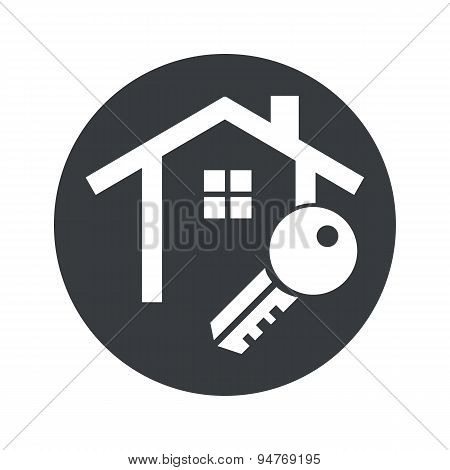 Monochrome round house key icon