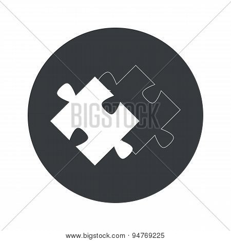 Monochrome round matching puzzle icon