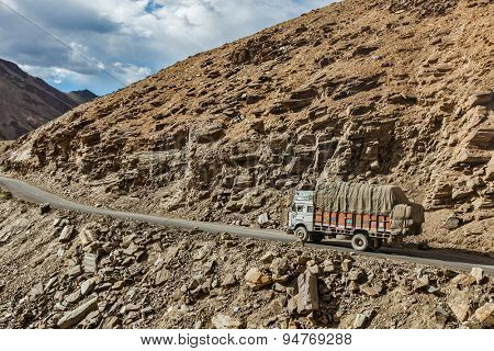 LADAKH, INDIA - SEPTEMBER 2, 2011: Indian lorry truck on Manali-Leh road in Indian Himalayas