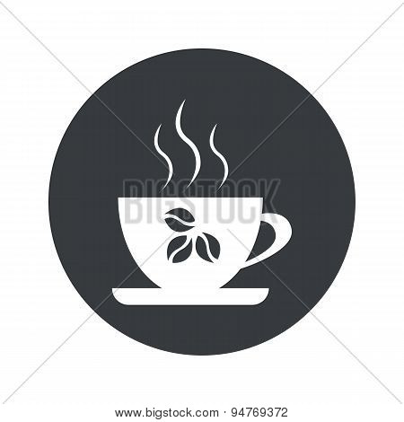Monochrome round coffee cup icon