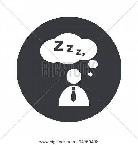 Monochrome round sleeping person icon