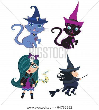 Witches And Cats - Set