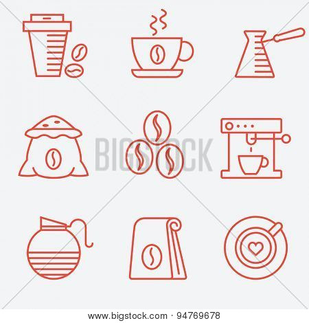 Coffee set, flat design, thin line style