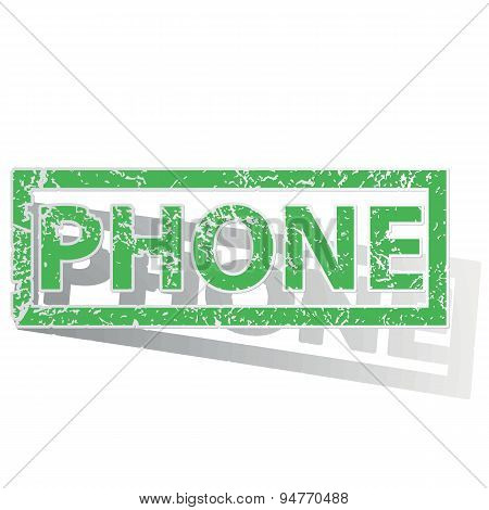Green outlined PHONE stamp