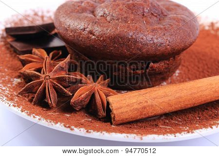 Baked Muffins, Star Anise, Cinnamon And Chocolate