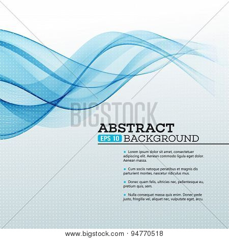 Blue Abstract waves background. Vector illustration