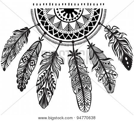 Decoration dreamcatcher in tribe style