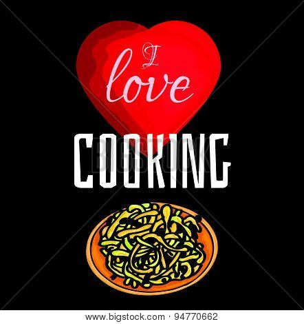 Vector colorful illustration of I love cooking.