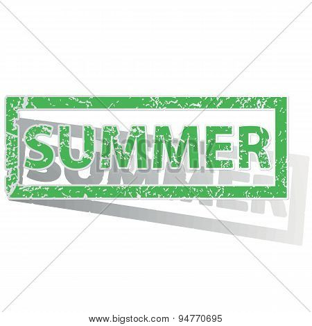 Green outlined SUMMER stamp