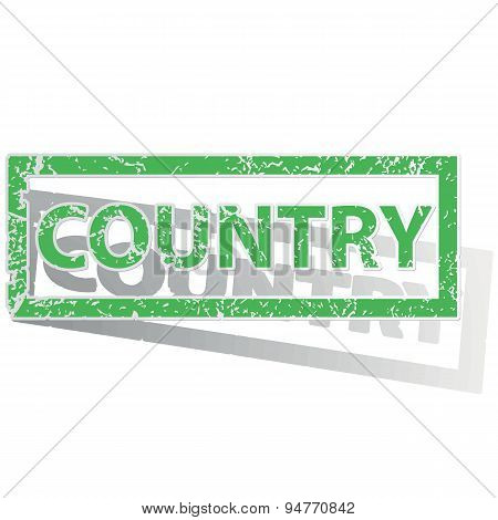 Green outlined COUNTRY stamp