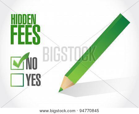 No Hidden Fees Check Sign Concept