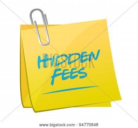 Hidden Fees Yellow Sign Concept Illustration