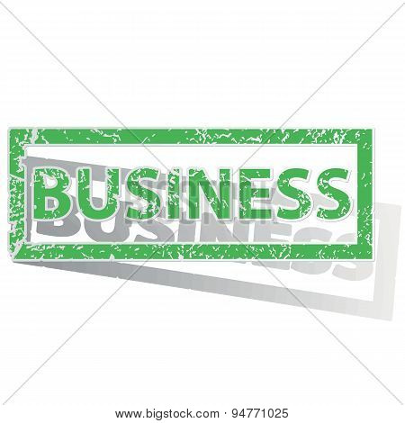 Green outlined BUSINESS stamp