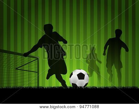 Soccer With Players In Silhouette Design, Vector Illustration