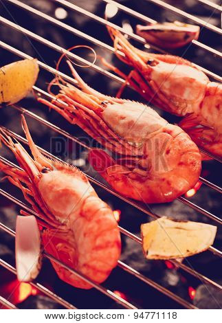 Three Shrimp on a grill
